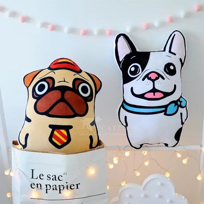 【FAT CAT HOUSE胖貓屋】沙皮狗鬥牛犬卡通抱枕 靠墊 毛絨公仔 沙發靠枕 創意禮物 生日禮物