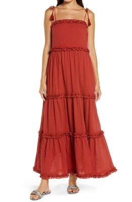 Ruffle Tie Shoulder Cover-Up Maxi Dress TORY BURCH