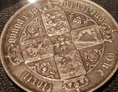 1864年英國歌德式2先令銀幣1枚