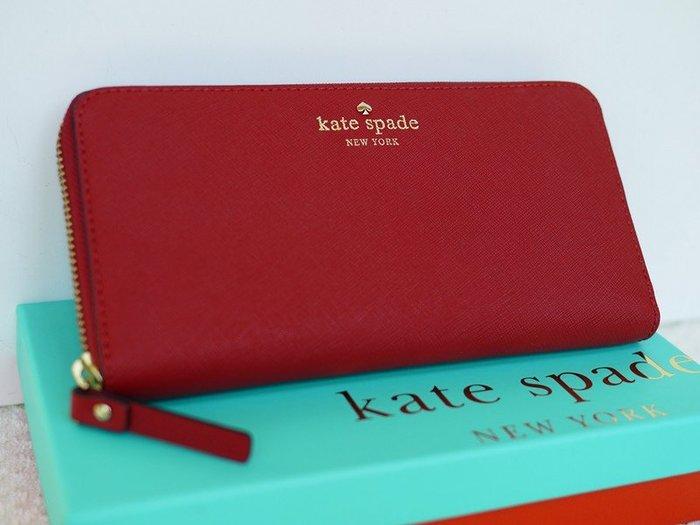 笑笑專屬® Kate Spade MIKAS POND LACEY 紅色防刮牛皮拉鏈錢包 皮夾 長夾 現貨!