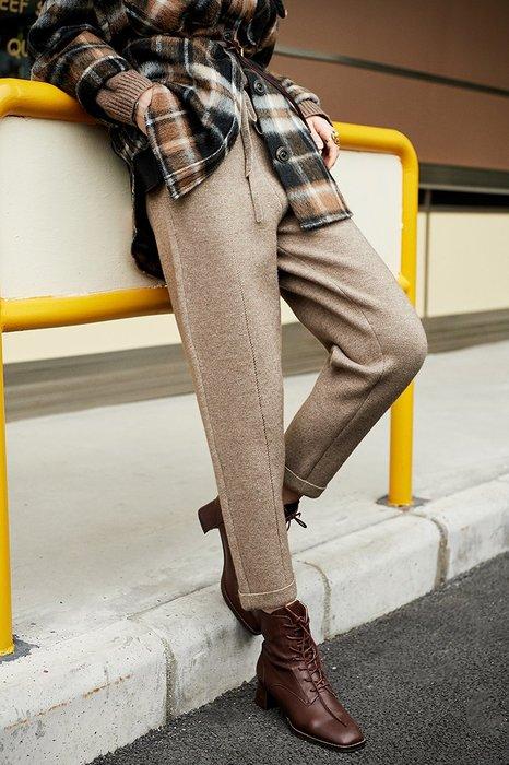 頂級奢華♥褲子☆一條抵兩件 重磅針織高密加厚帥氣錐褲