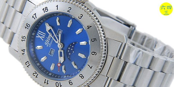 (六四三精品)S.J TIME(真品)全不銹鋼錶殼及錶帶.星期.月份.月相陰曆周杰倫運動錶F1