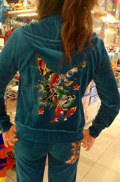 微風購買 Ed Hardy 孔雀藍水鑽金魚超優天鵝絨運動休閒服套裝