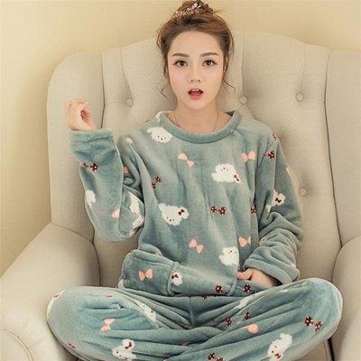 居家服秋冬季韓版珊瑚絨睡衣女式可愛卡通休閒套頭法蘭絨長袖套裝 Ic2936