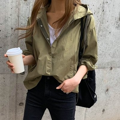 Bellee  正韓 夏天不來一件不行  扣式連帽口袋襯衫外套 (2色)【AP4496】 預購