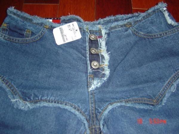 【100%真品】全新 TOMMY 深藍下擺開岔造型特別低腰 寬管  大喇叭牛仔褲