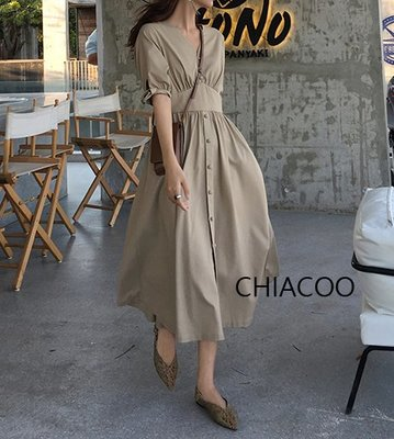CHIACOO歐美 韓國 復古 腰封 蝴蝶結 綁帶 收腰 長版 洋裝 長裙 波浪裙 圓裙 連身裙 度假 渡假 長洋裝