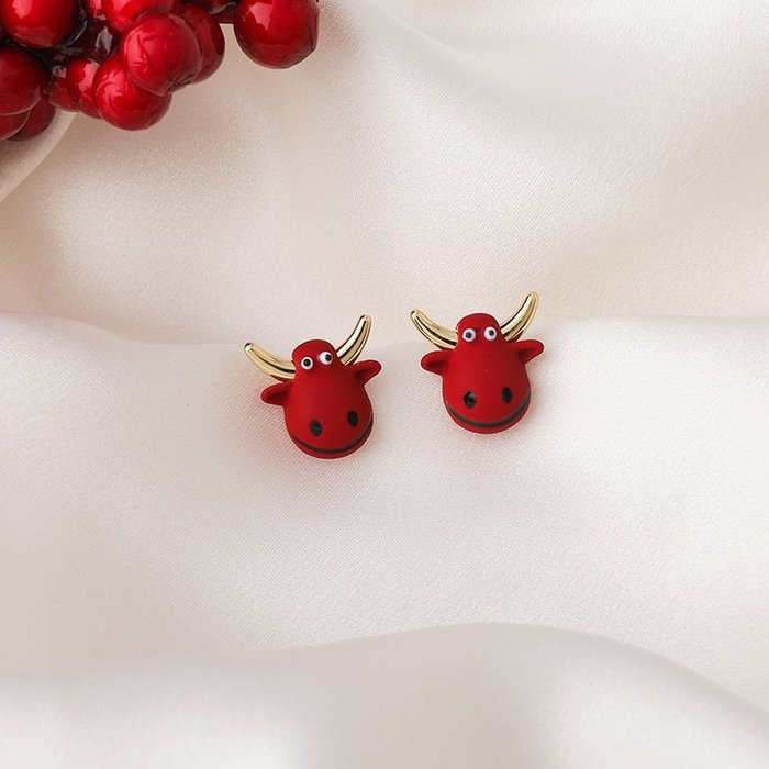 {菲兒韓國飾品} B5611 韓國直送(正韓)-甜美可愛紅色小牛耳環