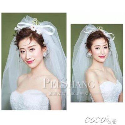 頭紗 結婚頭紗白色婚紗新款新娘韓式蝴蝶結頭紗拍照造型硬頭紗短款
