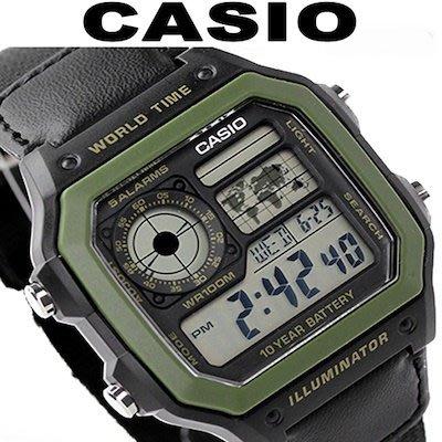 【全新原廠CASIO】【天美鐘錶店家直營】【下殺↘超低價有保固】AE-1200WHB-1B 十年電力世界時間黑帆布錶帶款