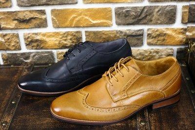 『老兵牛仔』JS9732商務休閒英倫風布洛克男鞋/頭層牛皮/時尚/彈力/耐摩/個性