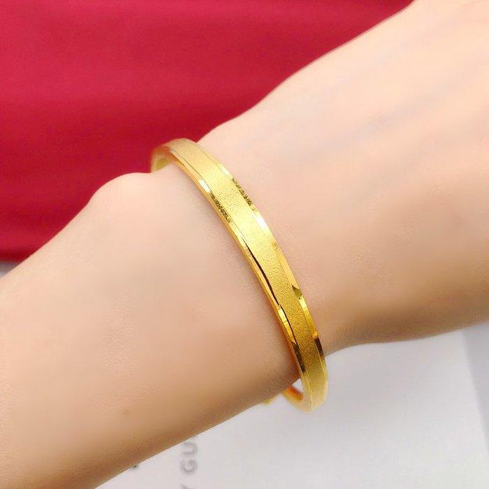 送禮佳品 新款仿越南沙金手鐲推拉 鍍金假黃金裝飾手鐲首飾女久不掉色