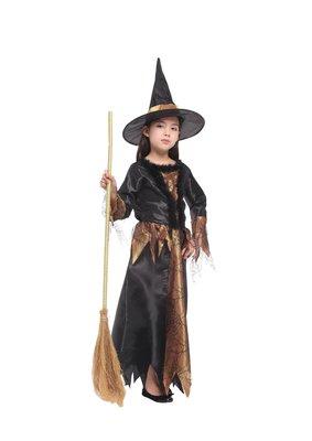歡樂賣/ 萬聖節服裝,萬聖節道具,巫婆服裝/兒童變裝服/黑金魔法女巫