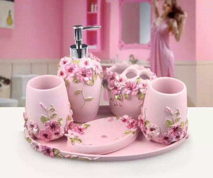 粉紅玫瑰精品屋~歐式粉色陶瓷衛浴五件套~