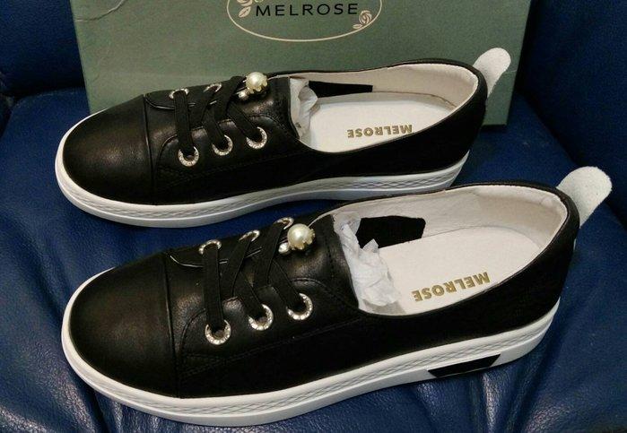 全新AS集團【MELROSE】 甜美氣質珍珠綁帶厚底休閒鞋-黑(SIZE:39)