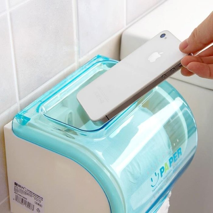 ☜男神閣☞免打孔捲紙架浴室紙巾架 衛生間防水捲紙筒 創意廁所捲紙盒紙巾盒