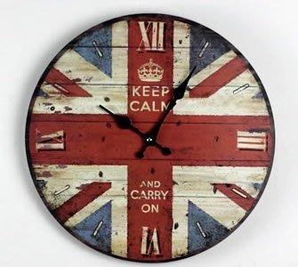 zakka雜貨 Vintage歐式鄉村風 仿舊復古美式酒吧工業LOFT 英倫皇冠LONDON英國國旗掛鐘 時鐘 圓鐘