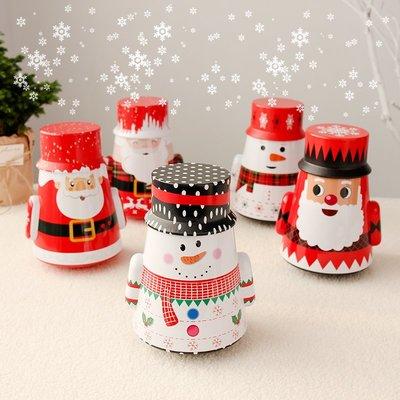 新款不倒翁聖誕老人雪人收納鐵盒零食糖果盒禮物禮品盒聖誕鐵盒大