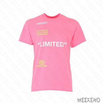 【WEEKEND】 TABOO Limited 文字 短袖 T恤 上衣 粉紅色 男女同款 19春夏