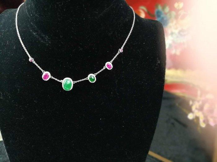 綠 翡翠 紅寶石 18 K金頸鍊 設計師款