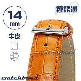 【鐘錶通】C1.25I《亮彩系列》鱷魚格紋-14mm 橙橘┝手錶錶帶/皮帶/牛皮錶帶┥