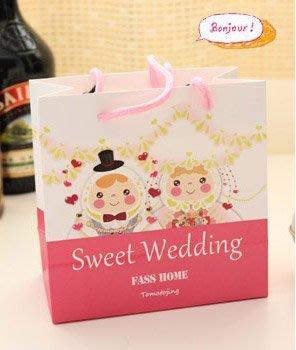*幸福朵朵*可愛新郎新娘圖案禮物袋(包裝袋.手提袋.可裝禮品)- 送客禮物包裝袋/婚禮小物