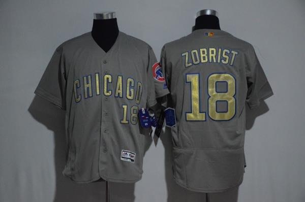 MLB小熊隊球衣Cubs棒球服18號ZOBRIST灰白色金字總冠軍標短袖T恤 ycwk608