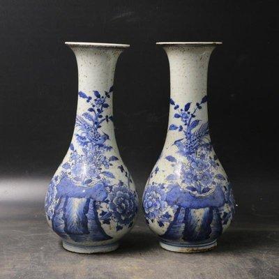 姥姥的寶藏㊣ 晚清青花花鳥瓶  古董收藏 古玩舊貨