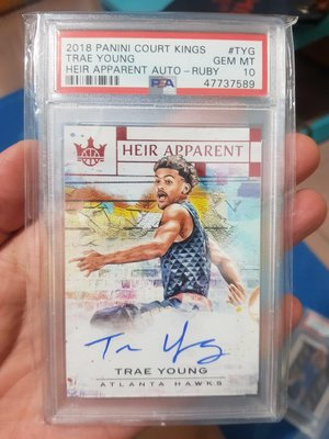 Panini Court Kings Trae Young #TYG Ruby Auto Rookie Card RC /99
