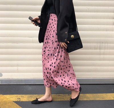 SeyeS NYLON古著時尚英倫搖滾低調粉紅豹紋A字裙