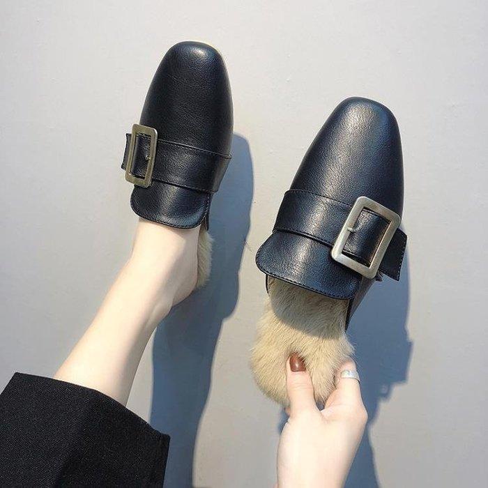 拖鞋女秋冬季正韓外穿平底英倫風粗跟方頭半拖鞋包頭平底毛毛拖鞋