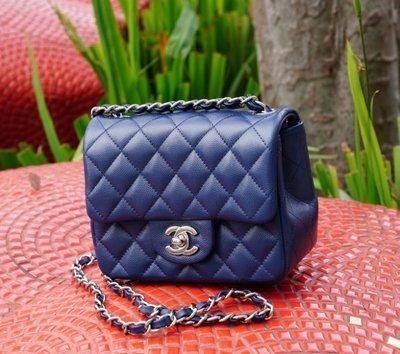 Chanel A35200 mini square 荔枝紋 藍 銀鍊