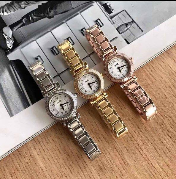 我愛名牌COACH包 美國100%正品【清倉低價出售購買兩件免運費】新款鋼錶帶女錶 時尚女錶 錶盤32mm