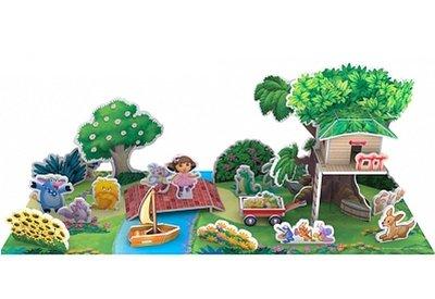 【卡漫迷】 Dora 3D 動手作 ㊣版 朵拉 Boots 空間概念 遊戲 益智 Puzzle 拼圖 兒童 DIY