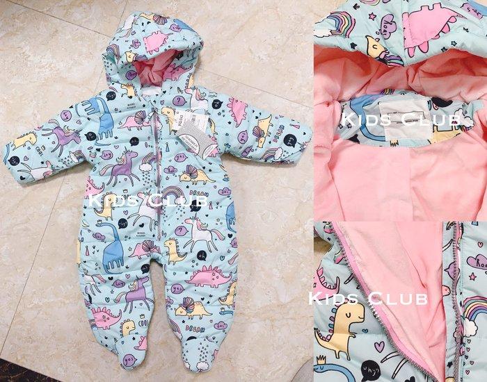 【Kids Club】11/14 歐美品牌寶寶嬰兒初生兒童男童女童可愛彩色獨角獸印花連帽子保暖連身衣包腳外出兔裝