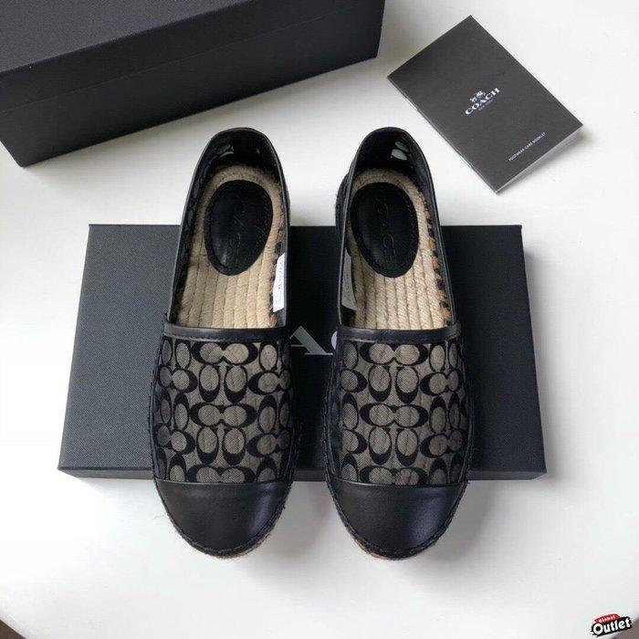 【全球購.COM】COACH 寇馳 2020新款 黑色漁夫鞋 滿版LOGO 休閒鞋 時尚精品 美國連線代購