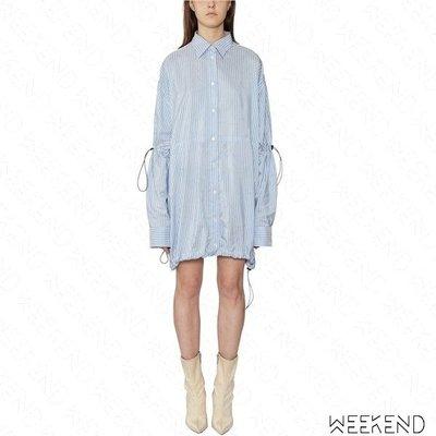 【WEEKEND】 UNRAVEL 長版 寬鬆 抽繩 長袖 襯衫裙 短裙 男友衣 藍色 19春夏