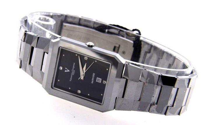 (六四三精品)Valentino coupeau高硬度鎢鋼方型錶徑.時尚精準手錶!