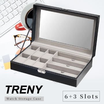 【TRENY直營】TRENY 6+3 手錶 眼鏡 收納盒 經典皮革 皮革收納盒 防塵防刮 精美展示 1551