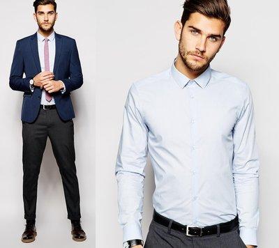 ◎美國代買◎ASOS藍色素面經典百搭英倫紳士風純棉襯衫英倫街風~歐美尺寸~大尺碼