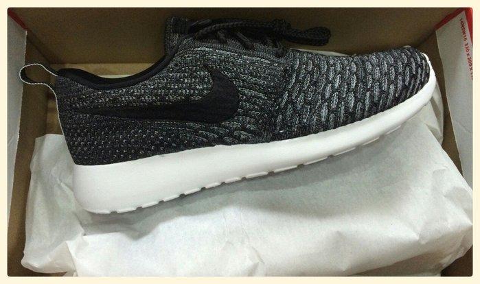 Nike Flyknit Roshe Run 網布 蜂巢 透氣 輕量 慢跑鞋 蛇紋 黑 677243-003