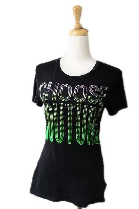 *Beauty*Juicy Couture綠色水鑽釘珠黑色短袖T恤 XS號