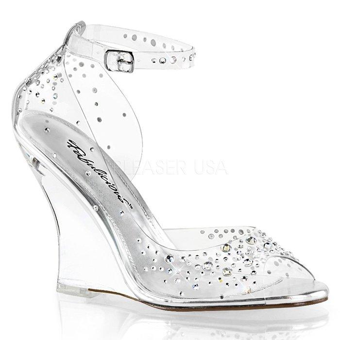 Shoes InStyle《四吋》美國品牌 FABULICIOUS 原廠正緞面水鑚透明楔型高跟魚口鞋 出清『銀白色