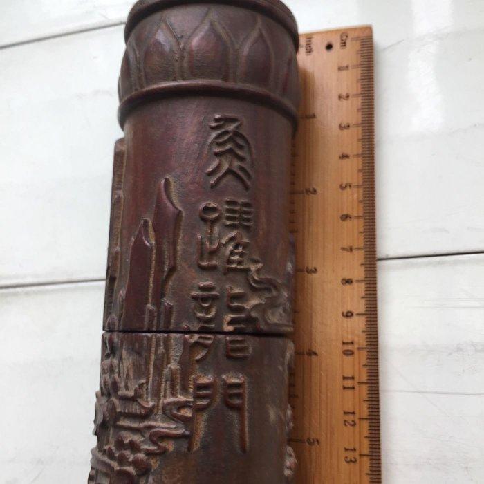 老件硬木紫檀雕刻藝術香筒魚躍龍門寓更上一層