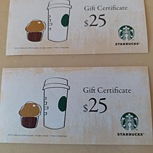 Starbucks 聖巴克$25現金券2張  可以交換