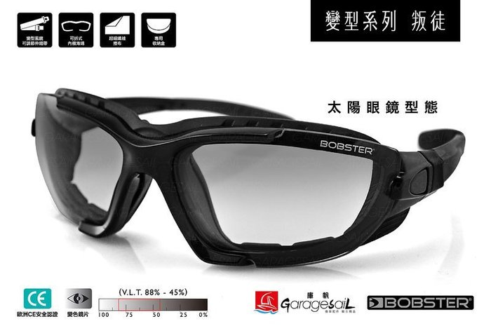 (I LOVE樂多)美國 BOBSTER 墨鏡風鏡 變型系列-叛徒 防風 抗UV 特殊自動變色鏡片