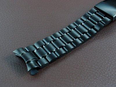 168錶帶配件 /20mm 彎 頭實心不鏽鋼製錶帶黑色PVD超值亞米家sea master海馬風格 speed mast