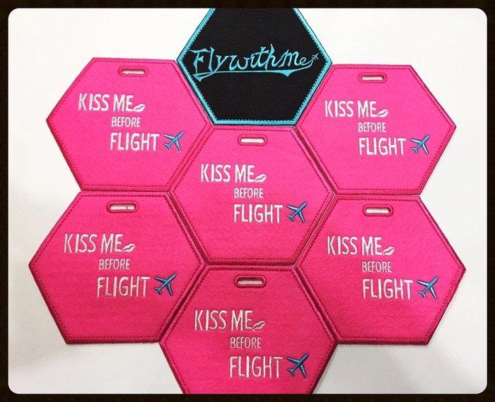 ※embrofami ※*KISS ME BEFORE FLIGHT桃紅icard6s行李吊牌 (非客製款,2個組)