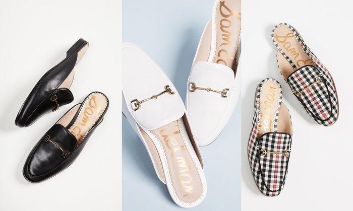 ◎美國代買◎Sam Edelman金屬鏈裝飾鞋面拖鞋式鞋身歐美時尚街風金屬鏈方楦頭平底拖鞋皮鞋~歐美時尚~大尺碼