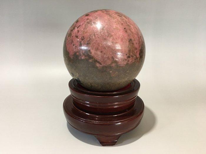 *藏雅軒*天然礦石雅石-沛納金台灣玫瑰石圓球附實木底座二-4.2kg